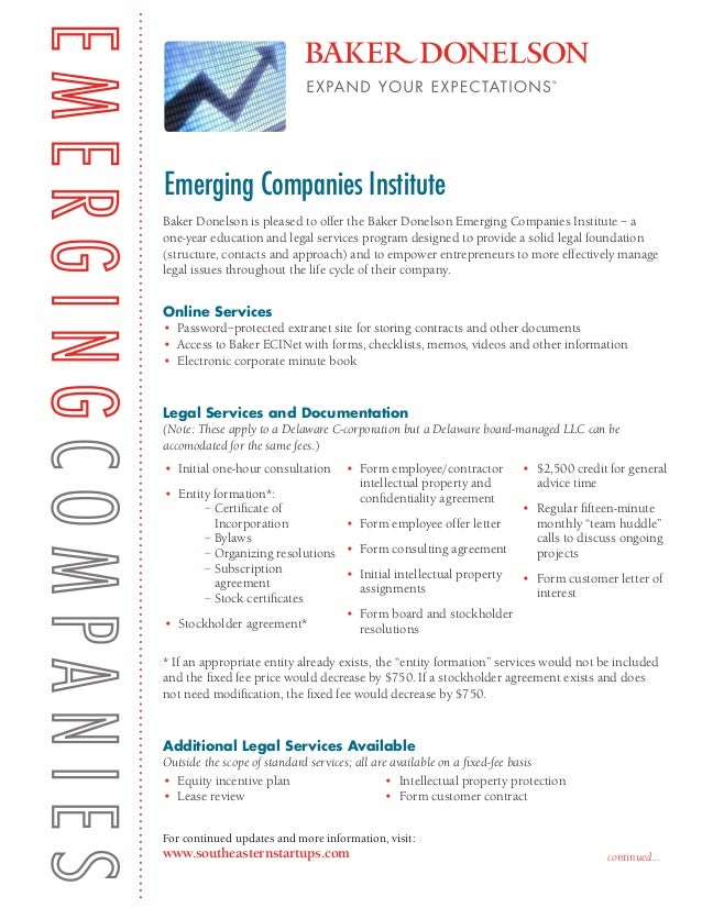 Baker Donelson Emerging Companies Institute - Overview