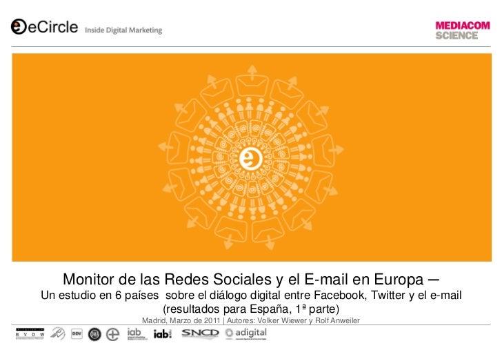 La compañía ECircle presenta el Monitor de las Redes Sociales y el E-mail en Europa ─ Un estudio en 6 países sobre el diálogo digital entre Facebook, Twitter y el e-mail (resultados para España, 1ª parte)