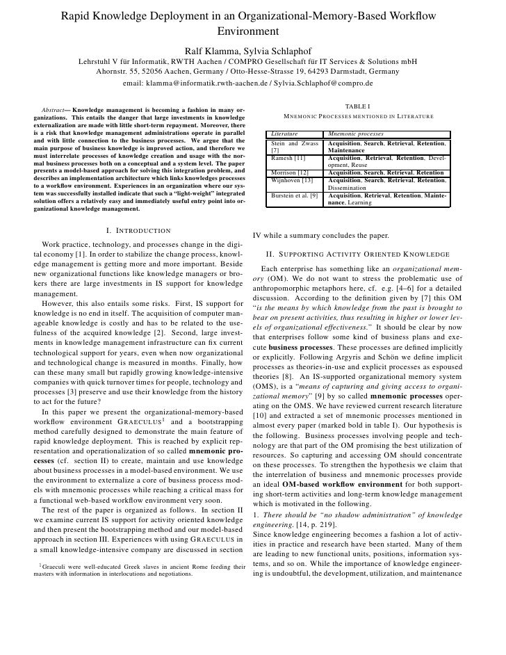 Rapid Knowledge Deployment in an Organizational-Memory-Based Workflow Environment