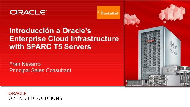 Introducción a Oracle's Enterprise Cloud Infrastructure with SPARC T5 Servers Fran Navarro Principal Sales Consultant