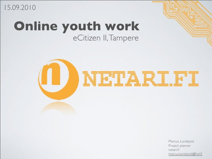 15.09.2010     Online youth work              eCitizen II, Tampere                                         Marcus Lundqvis...