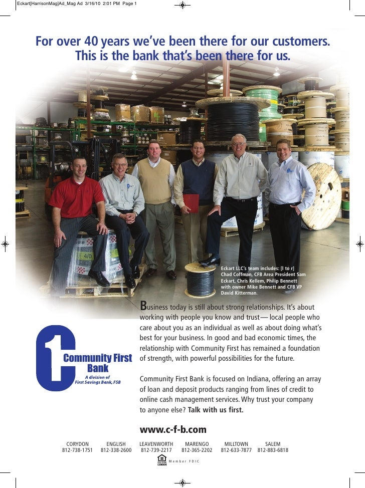 Eckart[HarrisonMag]Ad_Mag Ad 3/16/10 2:01 PM Page 1            For over 40 years we've been there for our customers.      ...