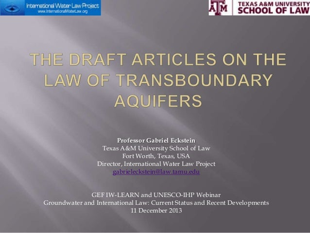 Draft Articles On the Law of Transboundary Aquifers
