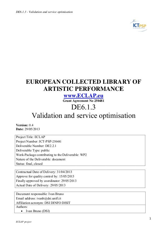 Eclap Validation and service optimisation, final report