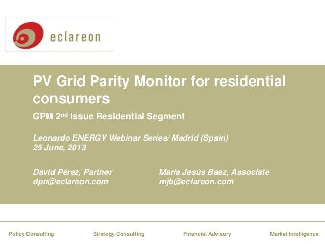 Webinar - Photovoltaic Grid Parity Monitor for residential consumers