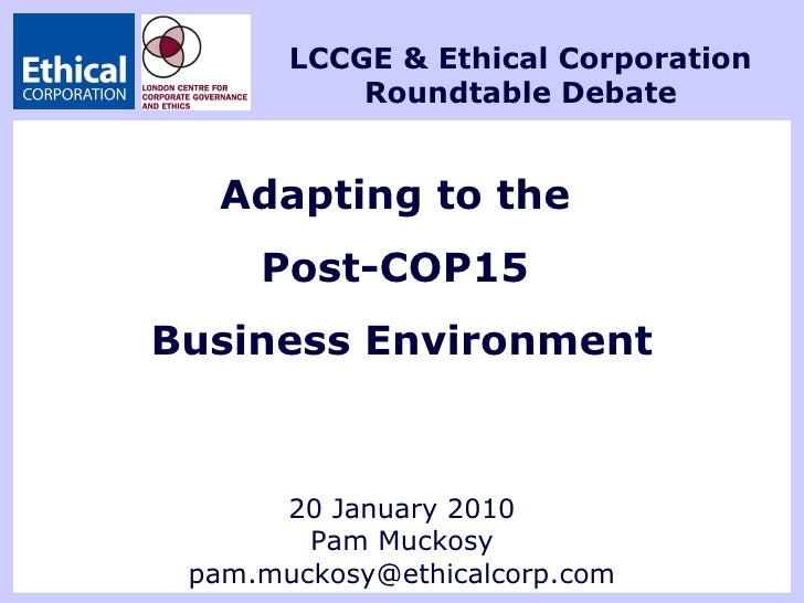 Adapting to the  Post-COP15  Business Environment 20 January 2010 Pam Muckosy [email_address] LCCGE & Ethical Corporation ...