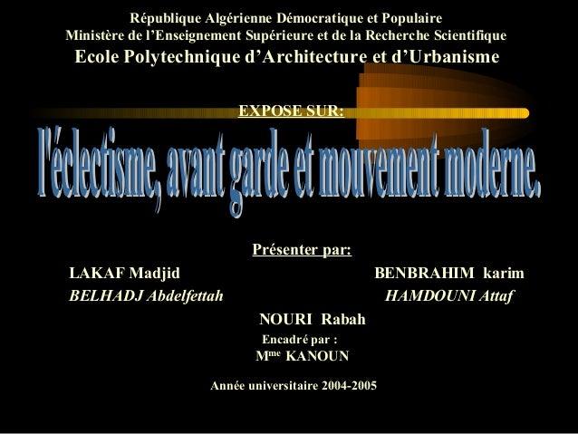 République Algérienne Démocratique et Populaire Ministère de l'Enseignement Supérieure et de la Recherche Scientifique Eco...