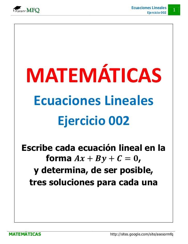 Ejercicios resueltos de ecuaciones lineales