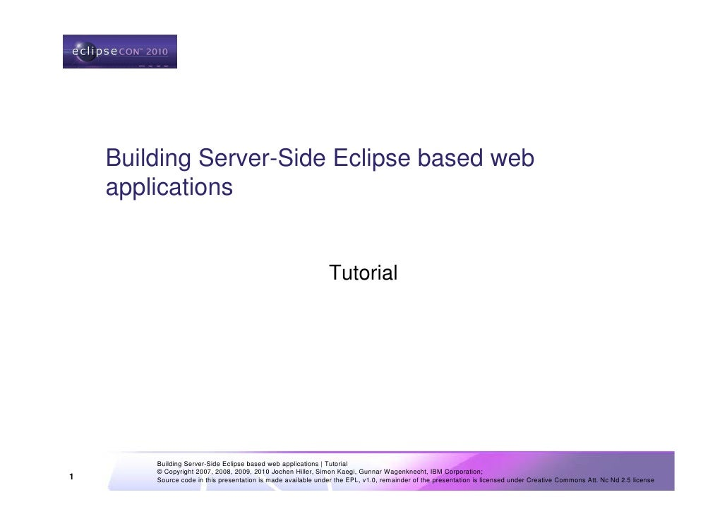 Building Server-Side Eclipse based web applications 2010