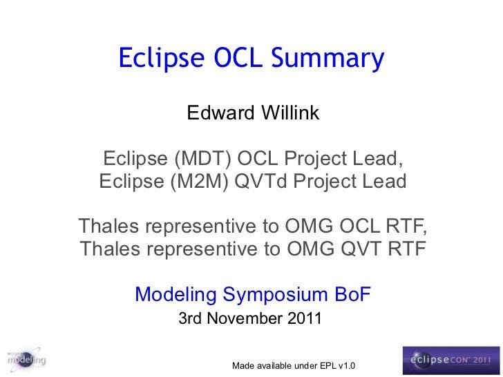 Eclipse OCL Summary