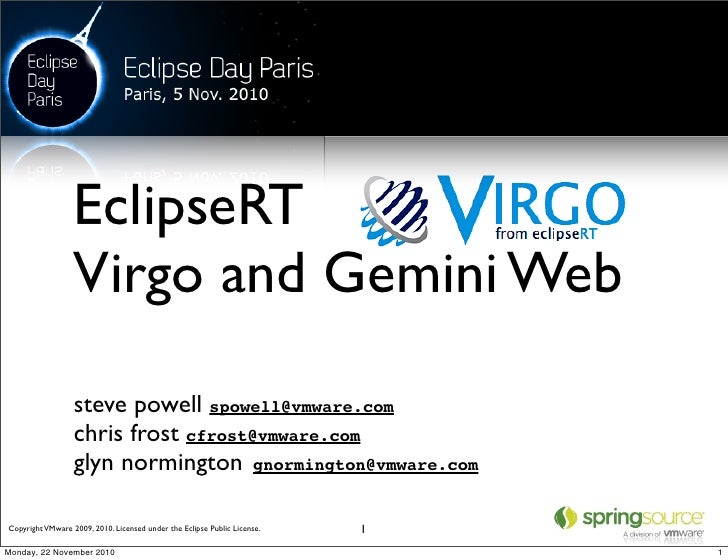 EclipseRT                  Virgo and Gemini Web                  steve powell spowell@vmware.com                  chris fr...