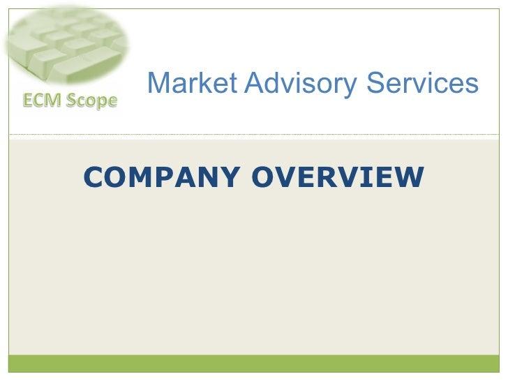 COMPANY OVERVIEW Market Advisory Services
