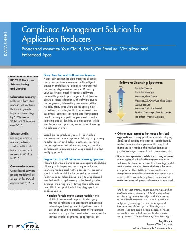 Compliance Management Solution for Application Producers Datasheet