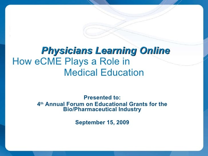 eCME Presentation CBI Grants Meeting East Coast 2009