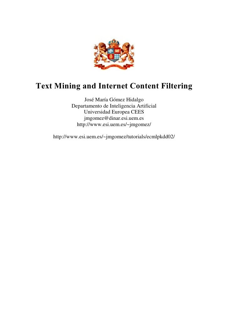 Tutorial on Text Mining, ECML, 2002
