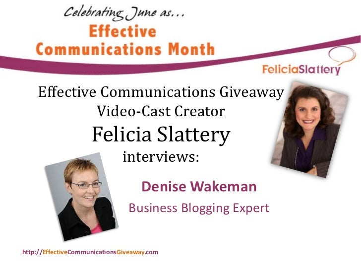 Effective Communications Month Tip from Denise Wakeman