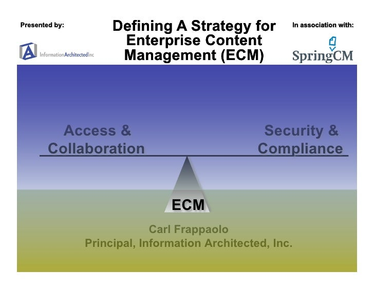 Defining A Strategy for           Enterprise Content           Management (ECM)       Access &                            ...