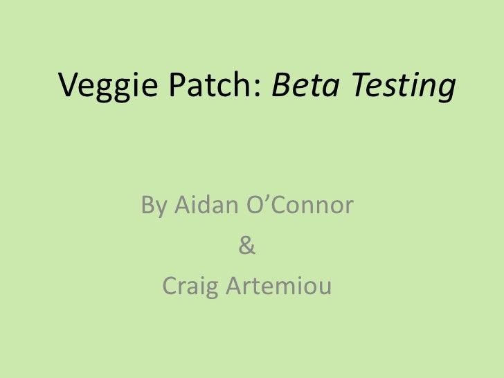 Veggie Patch: Beta Testing<br />By Aidan O'Connor<br />&<br />Craig Artemiou<br />