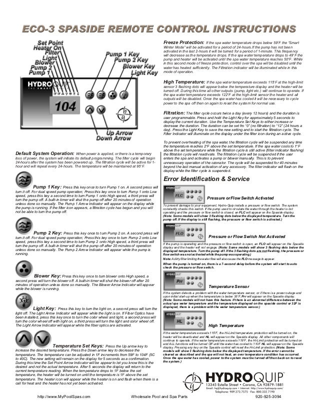 Eco 3 spaside instruction sheet
