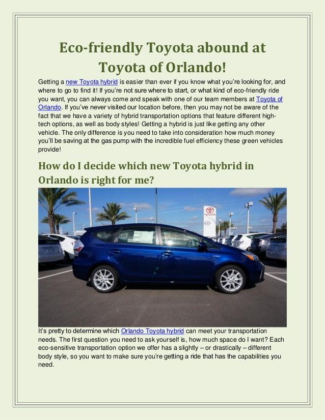 Eco friendly Toyota abound at Toyota of of Orlando