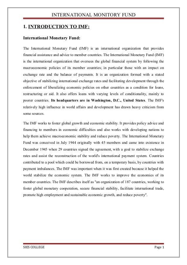international monitory fund