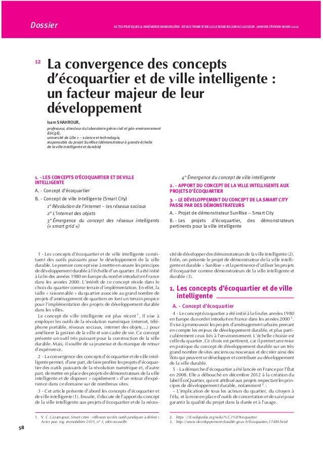 12 La convergence des concepts d'écoquartier et de ville intelligente : un facteur majeur de leur développement Isam SHAHR...