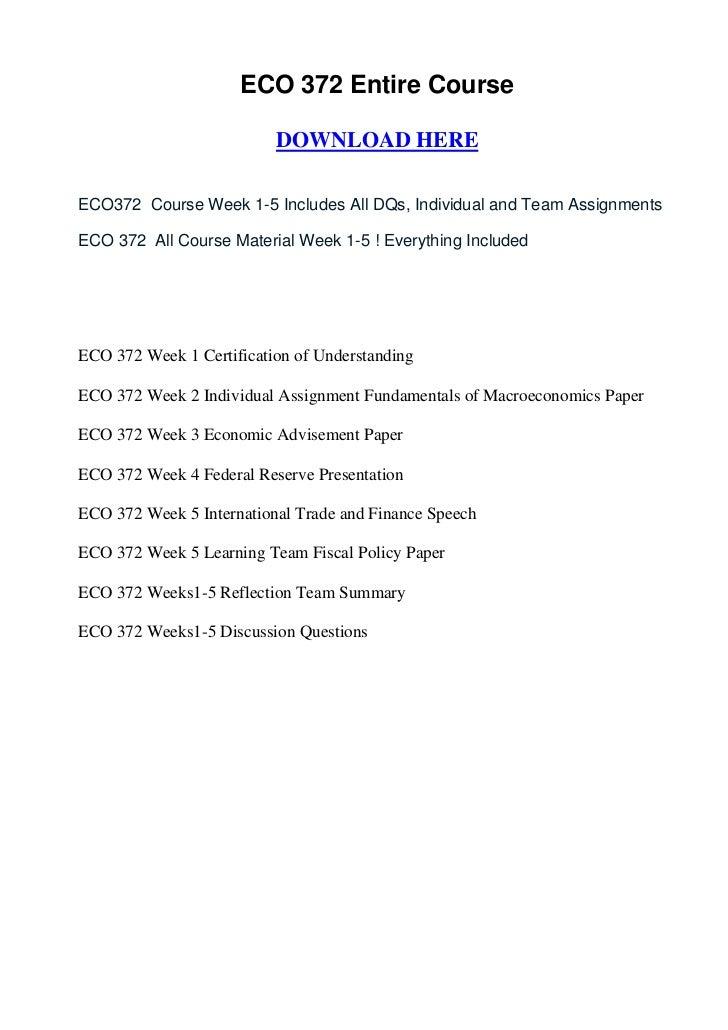 eco 372 fundamentals of macroeconomics