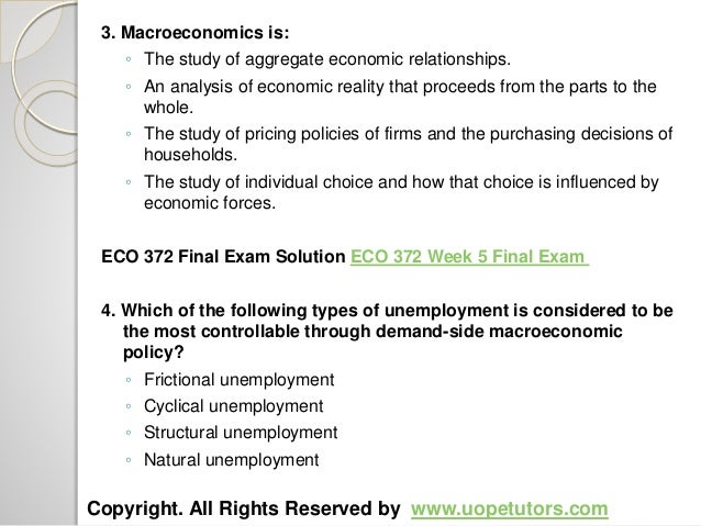 eco 372 week 2 discussion questions For more course tutorials visit wwwuophelpcom what is the difference between contractionary and expansionary fiscal policies which is more appropriate today.