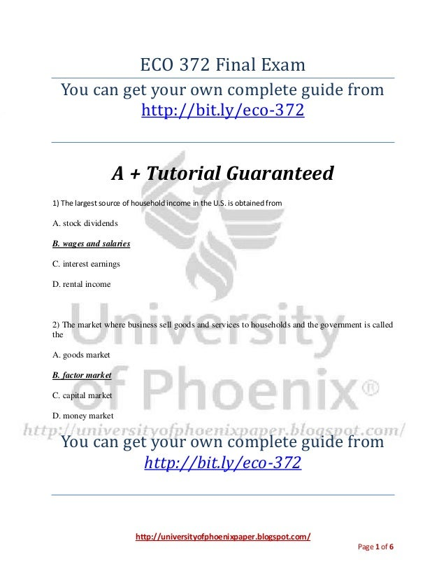 eco 372 final exam questions and answers