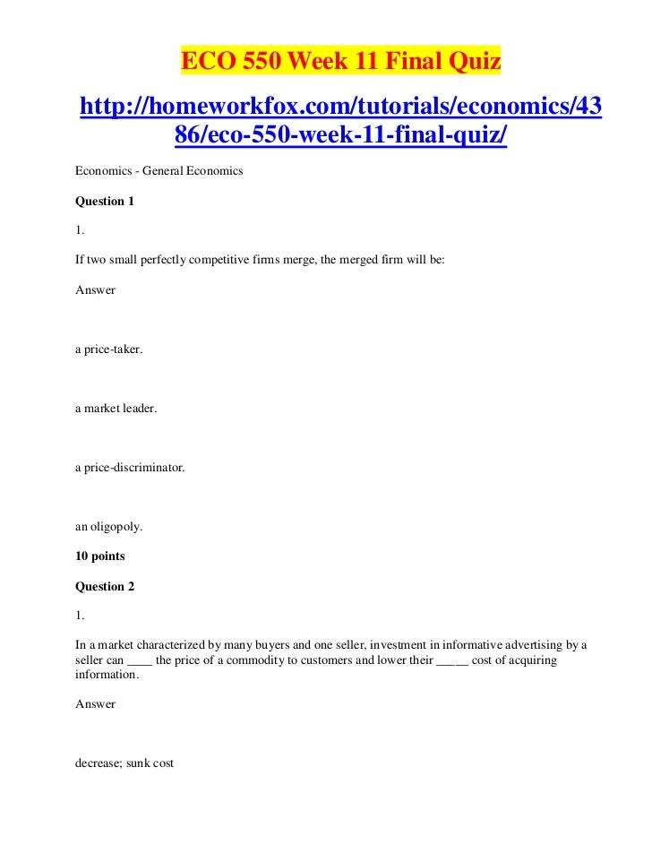 ECO 550 Week 1 Homework Problems