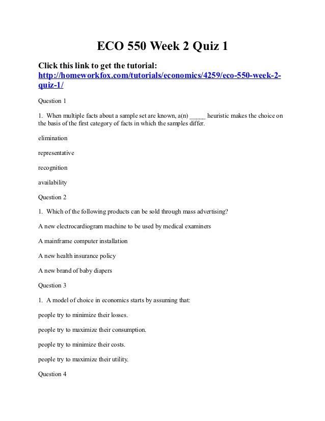 Eco 550 week 2 quiz 1