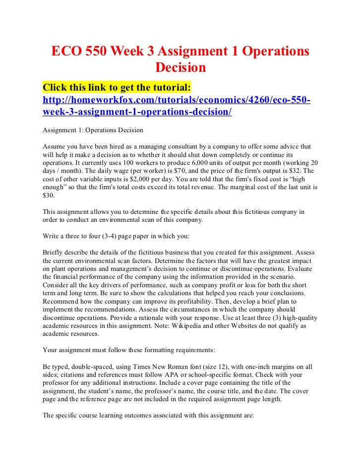 Eco 550 week 3 assignment 1 operations decision