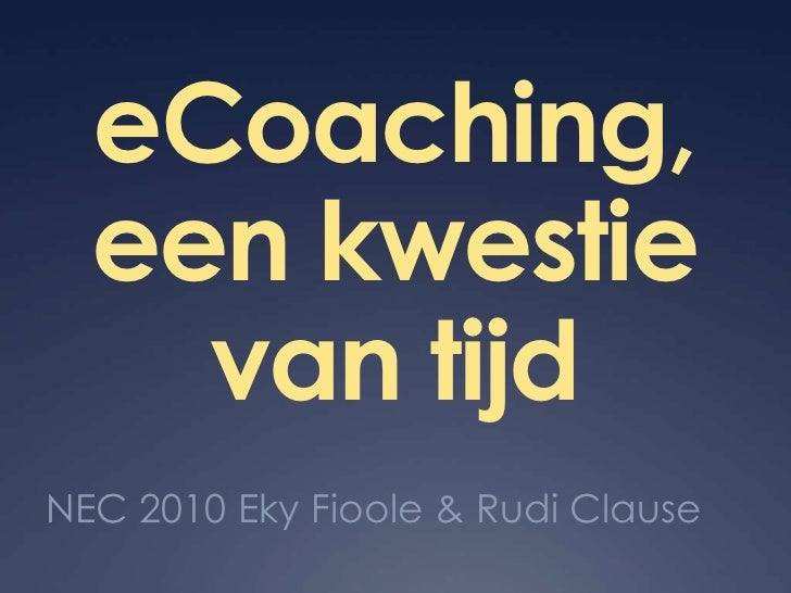 Ecoaching Kwestie Van Tijd Nec2010 Versie1p00