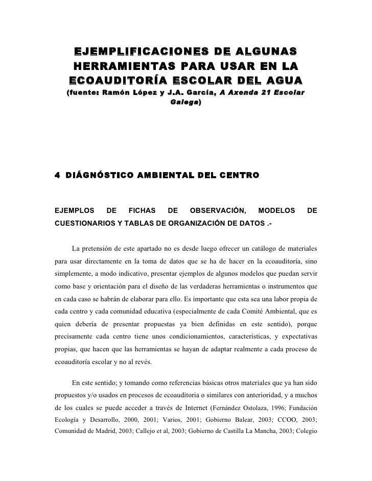 EJEMPLIFICACIONES DE ALGUNAS       HERRAMIENTAS PARA USAR EN LA      ECOAUDITORÍA ESCOLAR DEL AGUA     (fuente: Ramón Lópe...