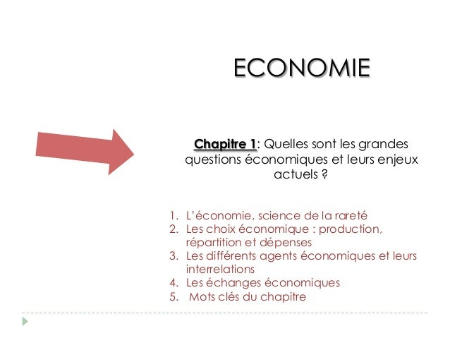 ECONOMIE   Chapitre 1: Quelles sont les grandes  questions économiques et leurs enjeux                actuels ?1. L'économ...