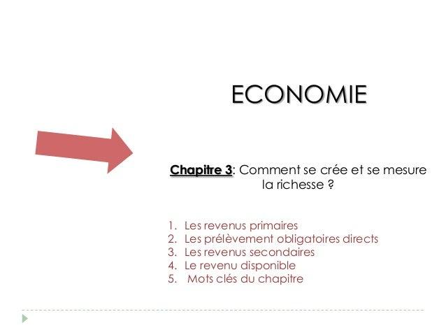 ECONOMIEChapitre 3: Comment se crée et se mesure              la richesse ?1.   Les revenus primaires2.   Les prélèvement ...