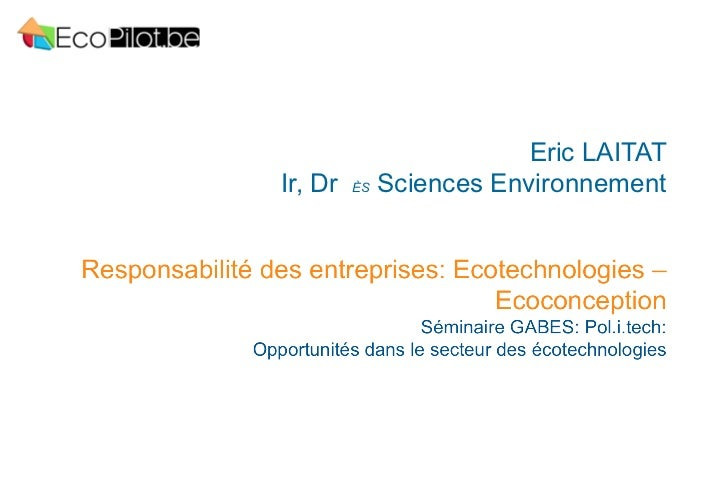 Eric LAITATIr, Dr ÈS Sciences Environnement