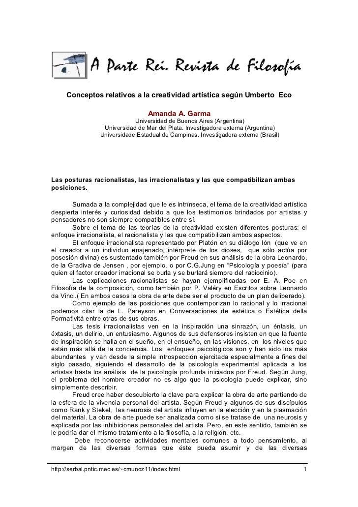 Conceptos relativos a la creatividad artística según Umberto Eco                                   Amanda A. Garma        ...