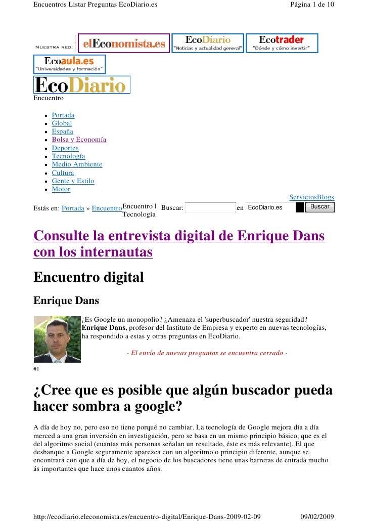 Encuentros Listar Preguntas EcoDiario.es                                               Página 1 de 10     Encuentro       ...