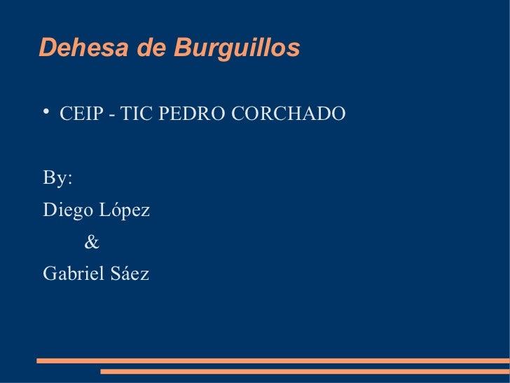 Dehesa de Burguillos <ul><li>CEIP - TIC PEDRO CORCHADO </li></ul><ul><li>By: </li></ul><ul><li>Diego López </li></ul><ul><...