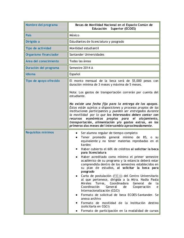 Nombre del programa Becas de Movilidad Nacional en el Espacio Común de Educación Superior (ECOES) País México Dirigido a E...