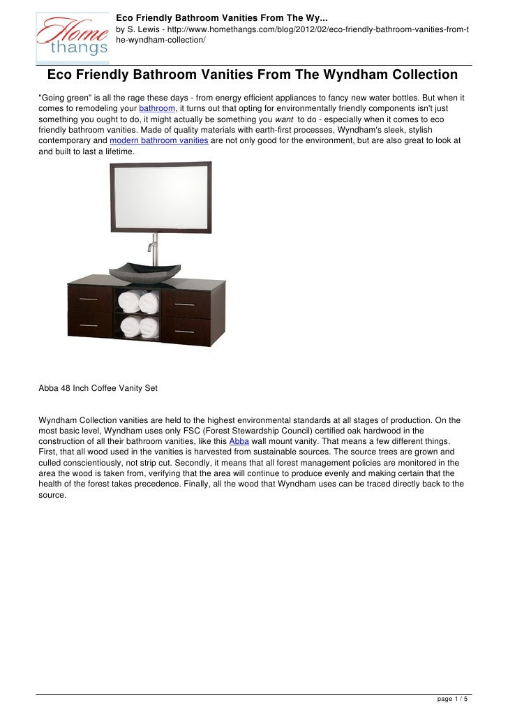 Eco Friendly Bathroom Vanities From The Wy...                    by S. Lewis - http://www.homethangs.com/blog/2012/02/eco-...