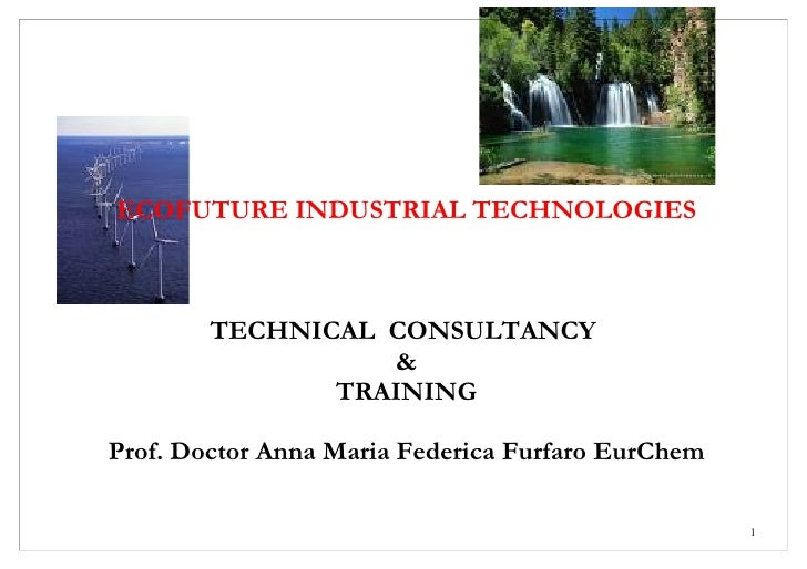 ECOFUTURE INDUSTRIAL TECHNOLOGIES            TECHNICAL CONSULTANCY                   &                TRAINING  Prof. Doct...