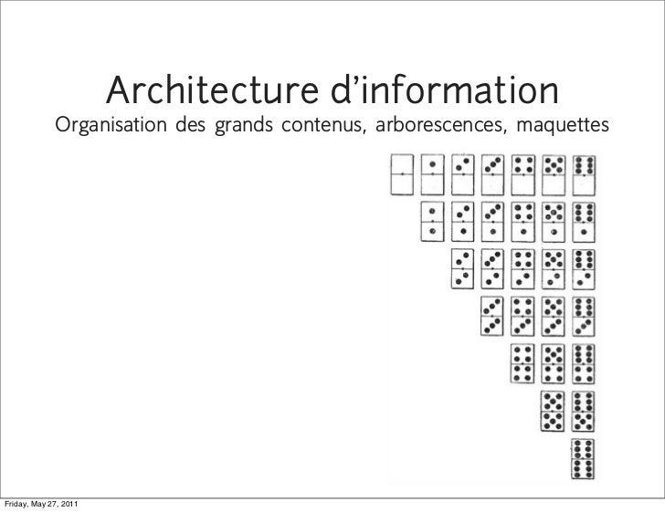 Architecture d'information             Organisation des grands contenus, arborescences, maquettesFriday, May 27, 2011