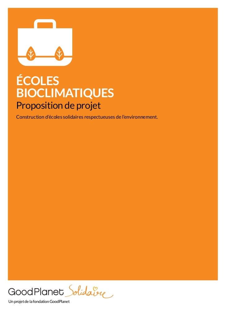 Ecoles solidaires et bioclimatiques - Fondation GoodPlanet
