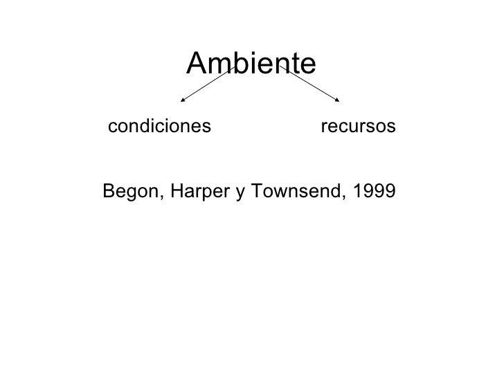 Ambiente condiciones  recursos Begon, Harper y Townsend, 1999