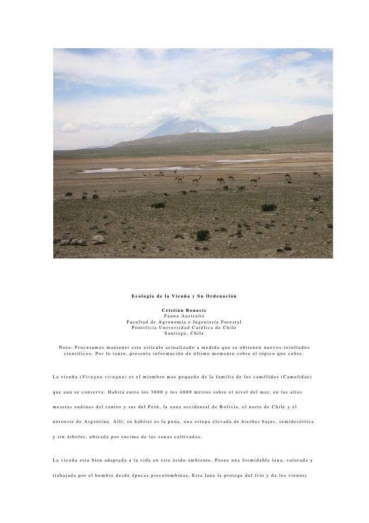 Ecología de la Vicuña y Su Ordenación<br />Cristián BonacicFauna AustralisFacultad de Agronomía e Ingeniería ForestalPonti...