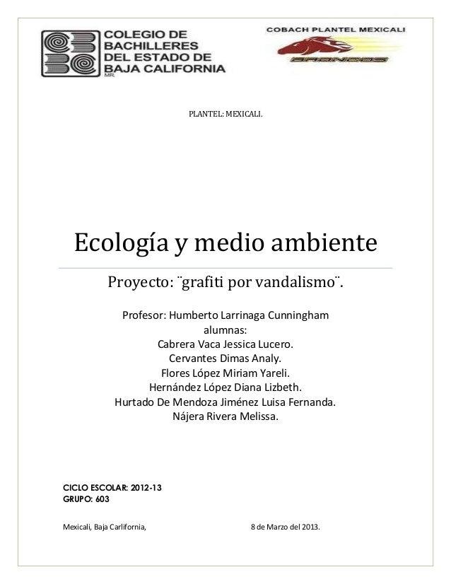 PLANTEL: MEXICALI.   Ecología y medio ambiente              Proyecto: ¨grafiti por vandalismo¨.                 Profesor: ...