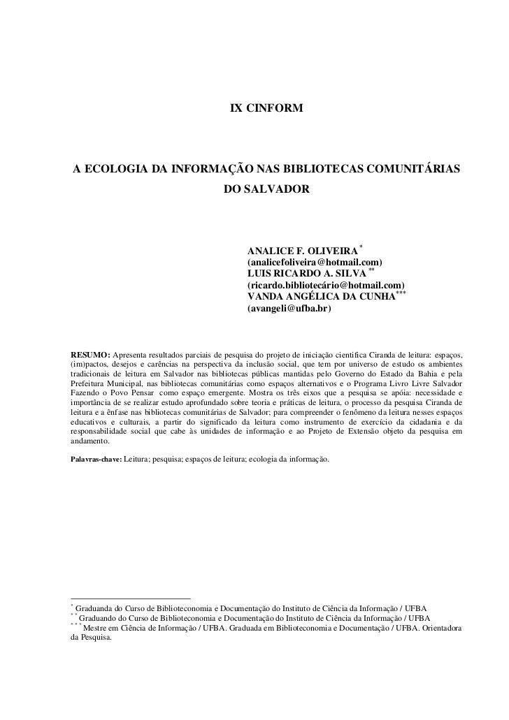 Ecologia da informação nas bibliotecas comunitárias do Salvador