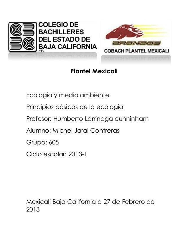 Plantel MexicaliEcología y medio ambientePrincipios básicos de la ecologíaProfesor: Humberto Larrinaga cunninhamAlumno: Mi...